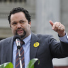 NAACP President Benjamin Jealous hopes that international pressure might be another weapon against strict new voter ID laws. Here Jealous speaks on Jan. 16 at the South Carolina State House in Columbia, S.C., for Martin Luther King Day.