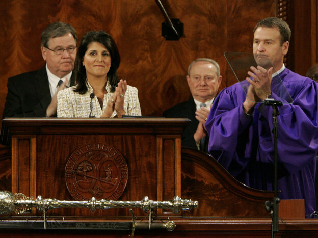 Ken Ard, right, who was South Carolina's lieutenant governor until Friday, shall no longer don the purple robe of his office. Here he was with Gov. Nikki Haley at her state of the state speech in January 2012.