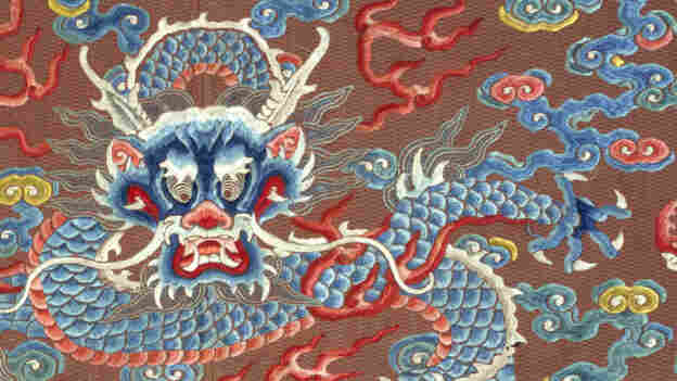 """A close-up of a dragon robe, or long pao, dated late 18th- or early 19th-century China. It's one of many on display in the exhibit """"Dragons, Nagas, and Creatures of the Deep"""" at the Textile Museum in Washington, D.C."""