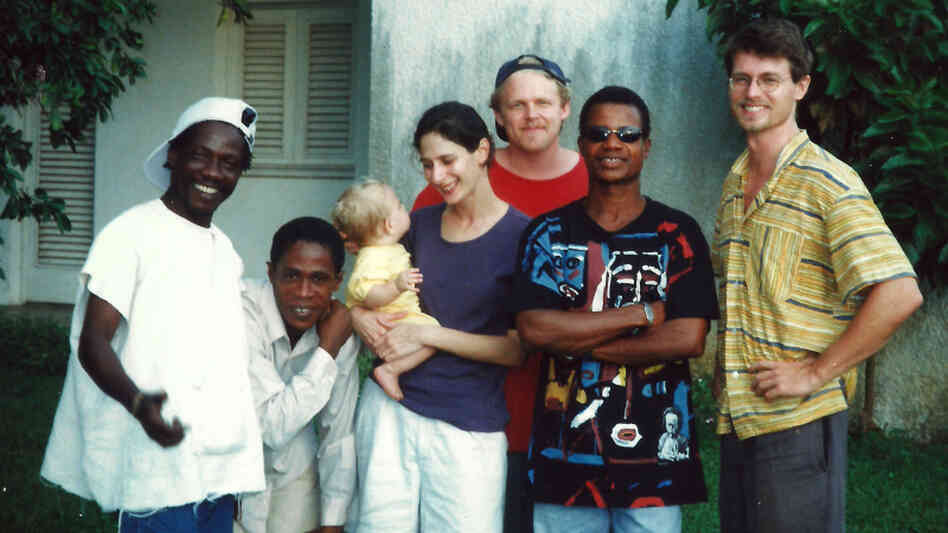 Zieti's members and extended family in the band's early days. Left to right: Tiende Laurent, Gnakale Aristide, Michael Shereikis (in back) with wife Natasha and son Nicholas, Yeoue Narcisse and Alex Owre.