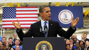 "President Obama speaks after touring Rolls-Royce Crosspointe engineering plant in Virginia on Friday. Obama declared America ""will thrive again"" after another encouraging report on jobs growth."