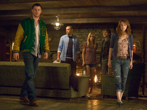 Curt (Chris Hemsworth), Holden (Jesse Williams), Jules (Anna Hutchison), Marty (Fran Kranz) and Dana (Kristen Connolly) head off for a fun weekend in Drew Goddard and Joss Whedon's The Cabin in the Woods.