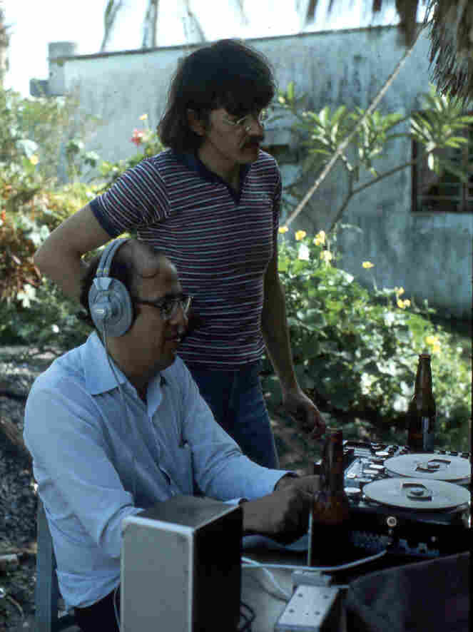 Eduardo Llerenas (standing) records with colleague Enrique Ramirez in Hidalgo in 1985.