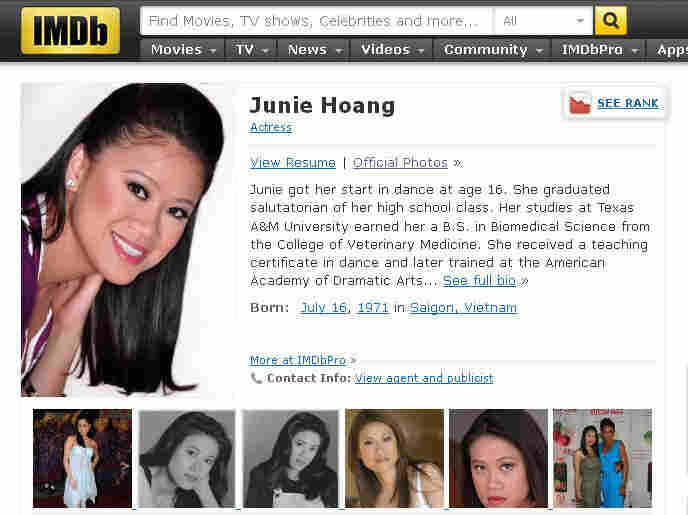 Actress Junie Hoang is going to court because her IMDB profile reveals her age.