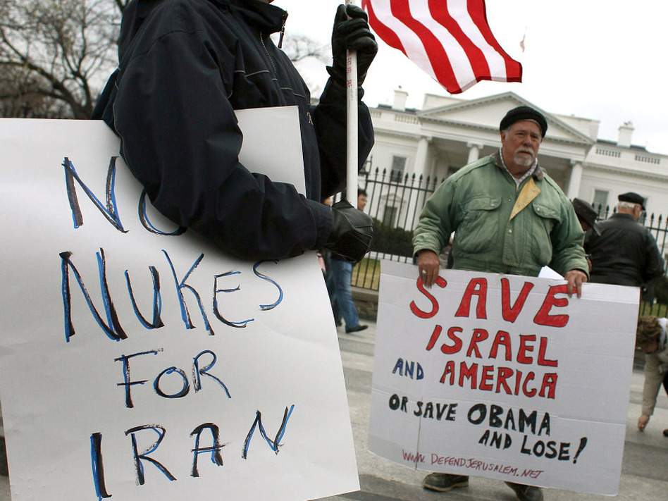 Bob Kunst (right) protests against a nuclear Iran in front of the White House on Monday. (Getty Images)