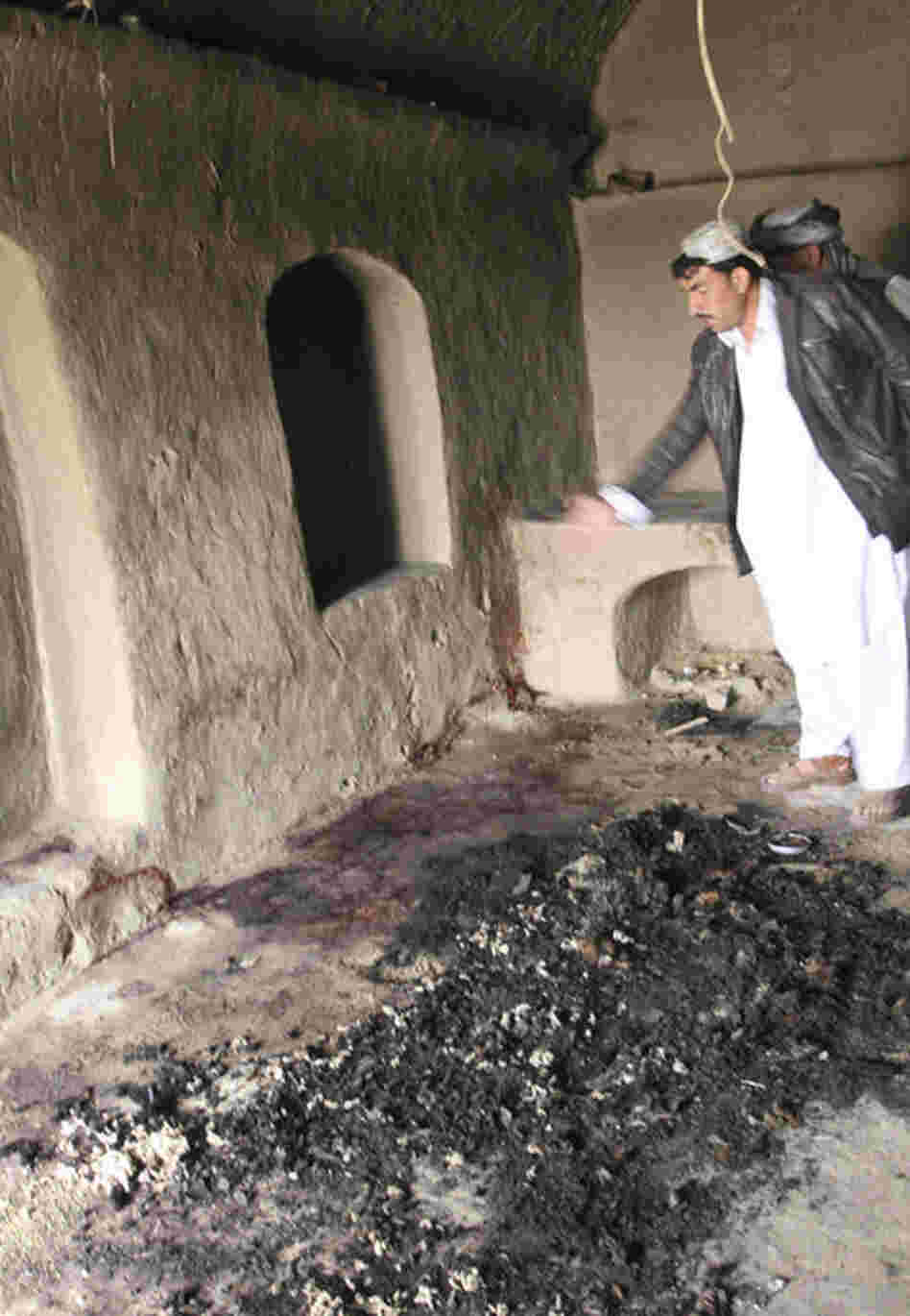 Bloodstains mark the spot where the villagers were allegedly shot. The attack took place in two villages in the Panjwai district of southern Kandahar province.