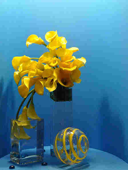 Alongside the more modern exhibits, the flower show included traditional floral displays like these yellow calla lilies.