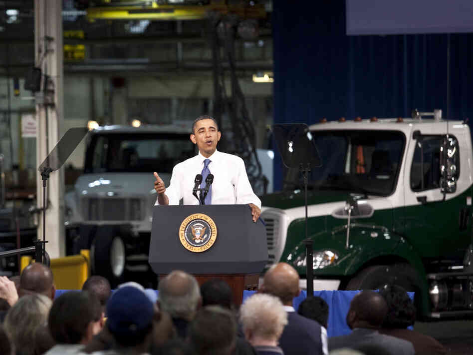 President Barack Obama delivers remarks on the economy at the Daimler Trucks North America Mt. Holly Truck Manufacturing Plant on March 7, 2011 in Mt. Holly, North Carolina. Obama outlined incentives to promote development of more fuel-efficient cars amid positive economic news.