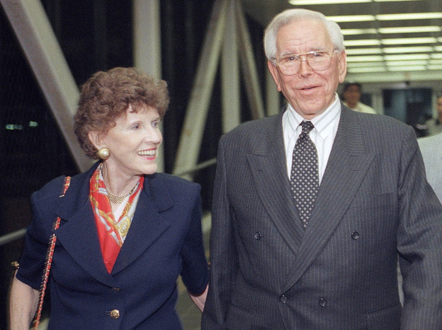 The Rev. Robert Schuller of the Crystal Cathedral and his wife, Arvella, in Los Angeles, in 1997. The Schullers announced on Saturday that they would resign from the board of directors of the Crystal Cathedral Ministries. A day later their daughter Sheila Schuller Coleman announced she would be leaving to start a new church.