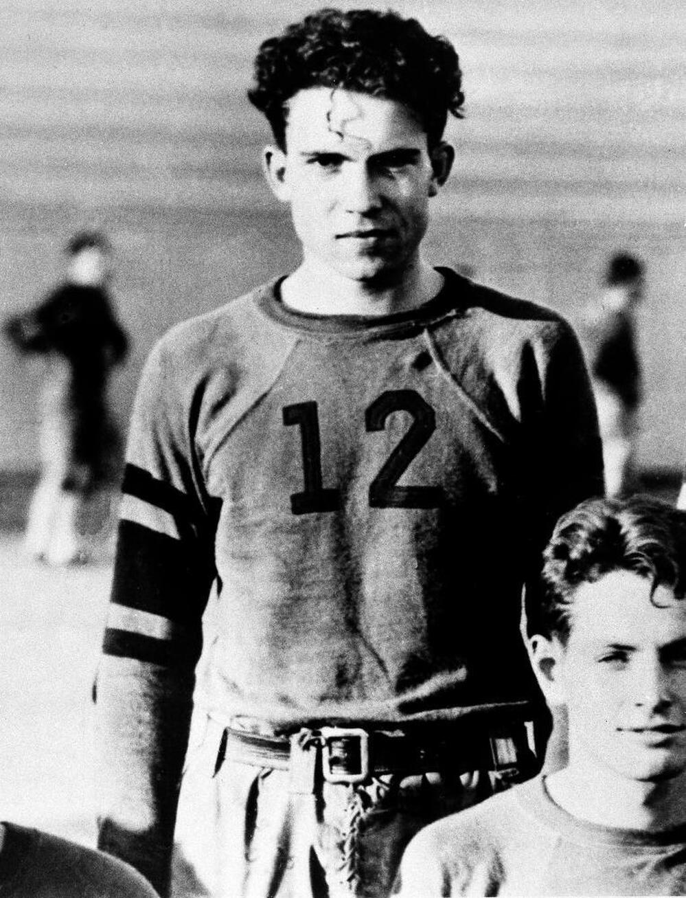 Richard Nixon is shown as a member of the Whittier College football squad in Whittier, Calif., circa 1930s.