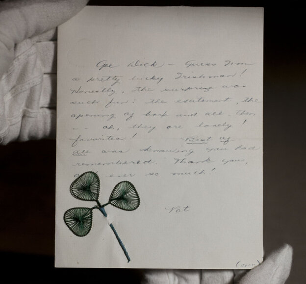 A love letter exchanged between Richard Nixon and his wife, Pat, in the early years of their romance and long before he became president.