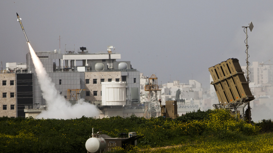 The Israeli military says its Iron Dome system has been extremely effective against Palestinian rockets coming out of the Gaza Strip. Here, an Israeli missile is launched Monday near the city of Ashdod in response to a Palestinian rocket. (Getty Images)