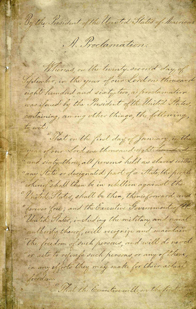 Abraham Lincoln signed the Emancipation Proclamation on Jan. 1, 1863. The 150-year-old document has suffered damage from handling and light deterioration. You can learn more and get a closer look at the five-page proclamation at the National Archives website.