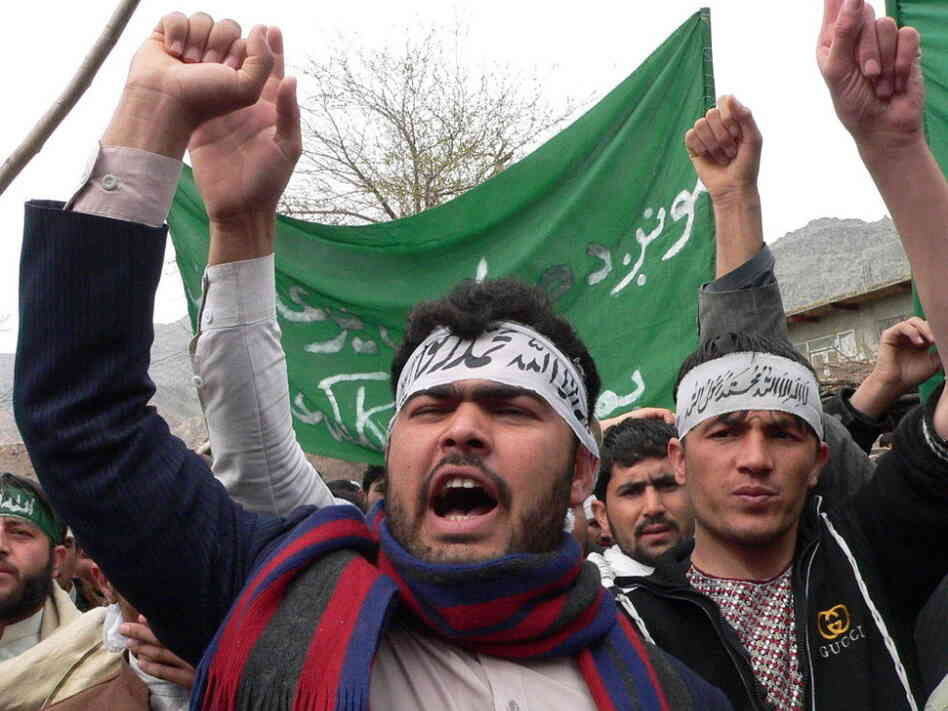 Afghan protesters shouted anti-U.S. slogans during a demonstration in Jalalabad earlier today.