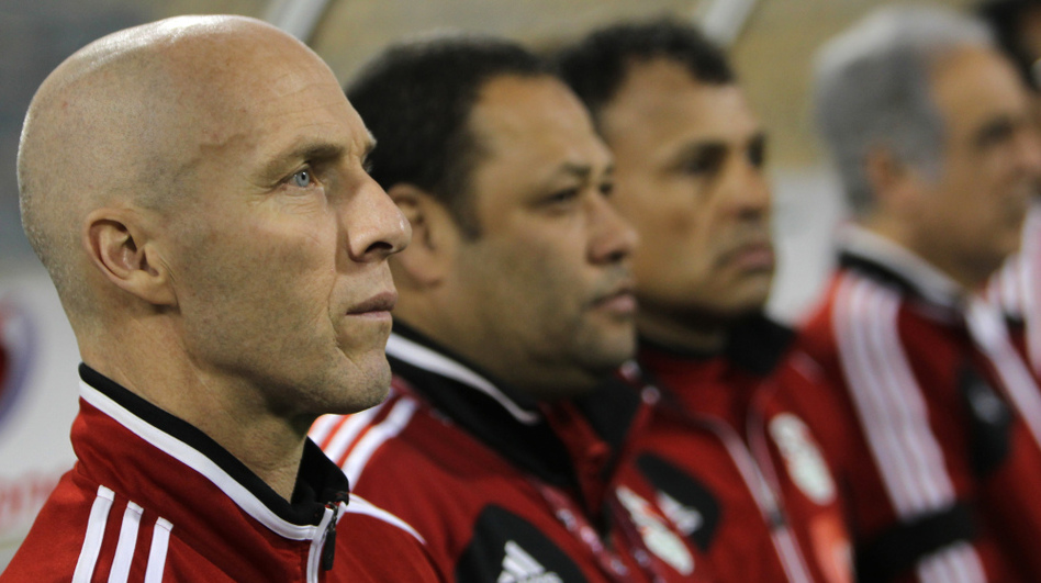 The Egyptian national soccer team's American coach, Bob Bradley, attends his team's friendly match against Kenya in the Qatari capital, Doha, in February. The Egyptian team won 5-0. (AFP/Getty Images)