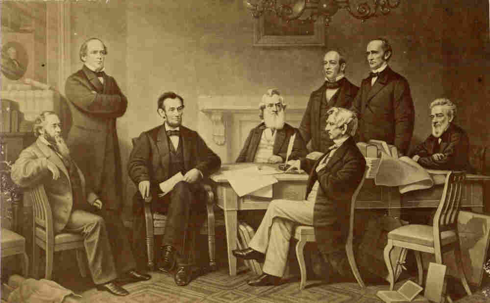 The first reading of the Emancipation Proclamation before the Cabinet, on July 22, 1862. Painted by F.B. Carpenter, engraved by A.H. Ritchie.