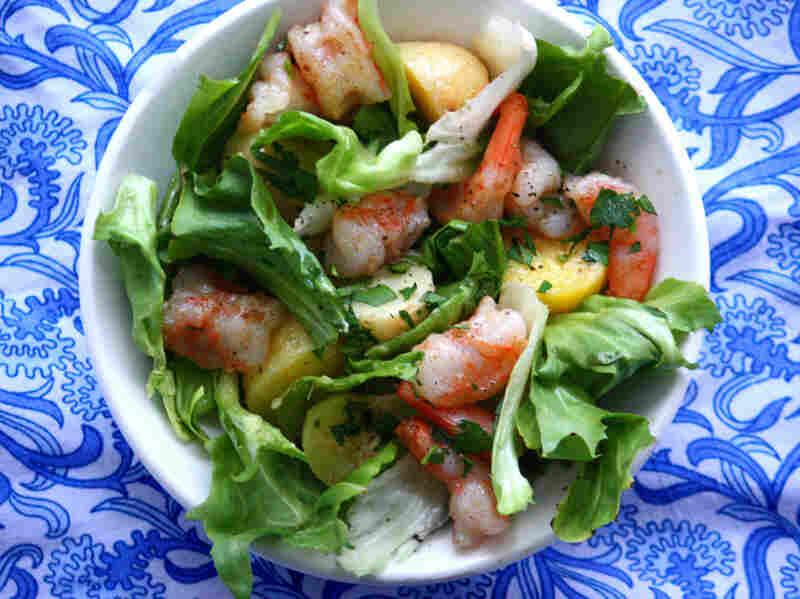 Sauteed Shrimp, Potato And Escarole Salad