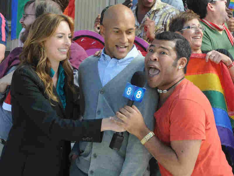 Erin Gibson, Keegan-Michael Key and Jordan Peel in a skit from Key & Peele.