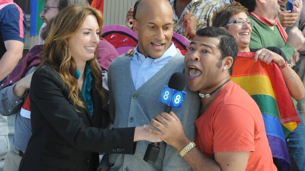 Erin Gibson, Keegan-Michael Key and Jordan Peel in a skit from Key & Peele. (Comedy Central)