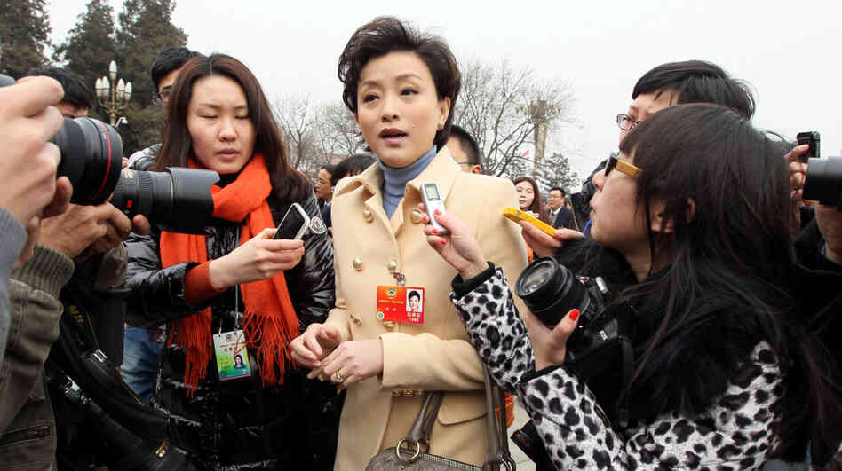 "Yang Lan, TV host and delegate to the Chinese People's Political Consultative Conference, carries a Marc Jacobs handbag outside the Great Hall of the People in Beijing on March 3. Nicknamed ""the Oprah Winfrey of China,"" Yang has also been seen wearing a Giorgio Armani jacket during the leg"