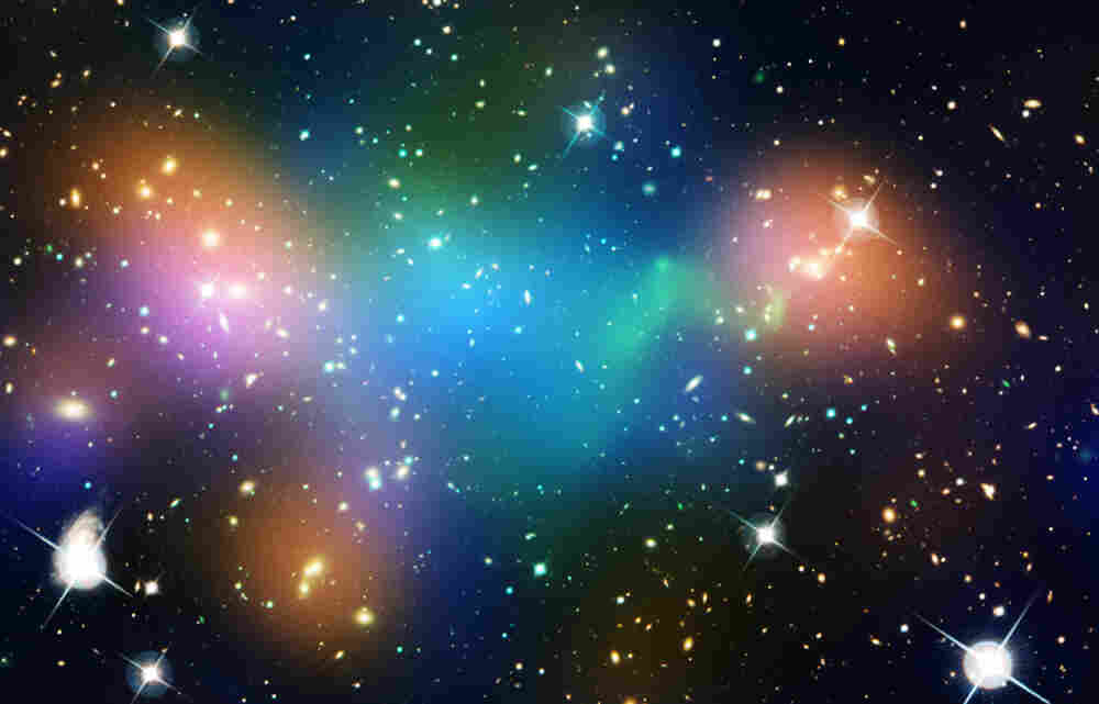 This image of the galaxy cluster Abell 520 — 2.4 billion light-years away — may challenge some of our basic theories about Dark Matter. It is