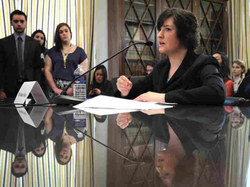 Sandra Fluke, a third-year law student at Georgetown University and former president of the Students for Reproductive Justice group there, testifies during a hearing before the House Democratic Steering and Policy Committee last month in Washington.