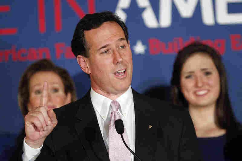 Rick Santorum speaks in Layfayette, La. after winning the Alabama primary. Santorum also won Mississppi's GOP primary election.