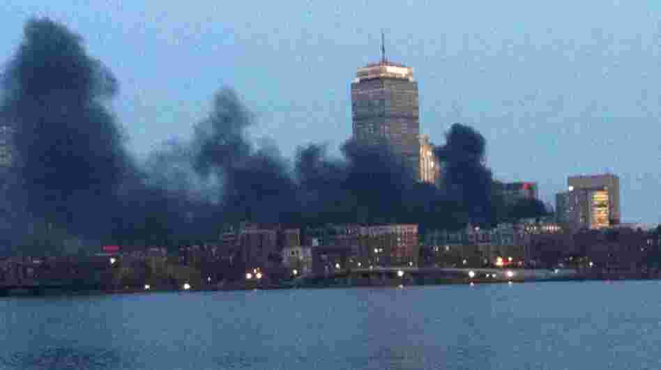 The smoke over Boston from Tuesday's electrical fire.