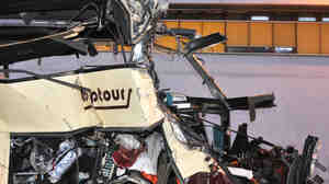 The mangled front of the bus. The crash happened in a tunnel in Sierre, in the Swiss canton of Valais.