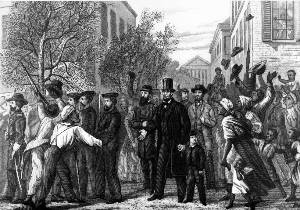 This 1865 drawing by L. Hollis, engraved by John Chester Buttre, depicts Abraham Lincoln as he enters Richmond, Va., in April 1865. Scroll down to learn more about this image and other artistic works inspired by the Emancipation Proclamation.