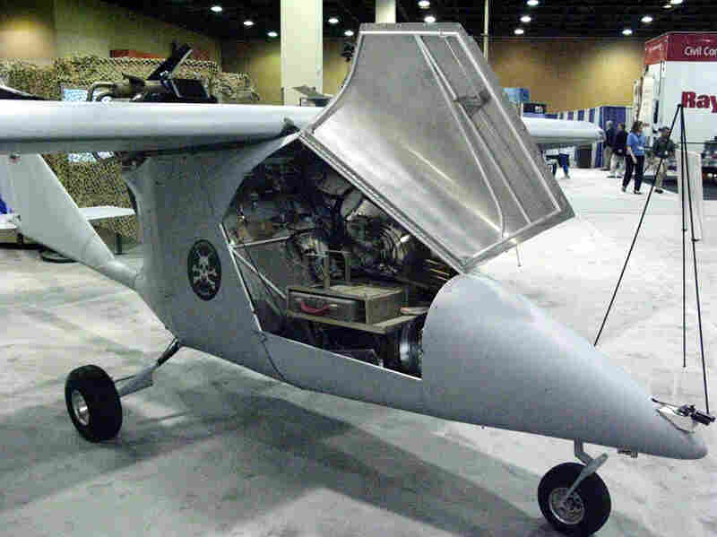A drone aircraft is displayed at a border security trade show held this month in Phoenix.