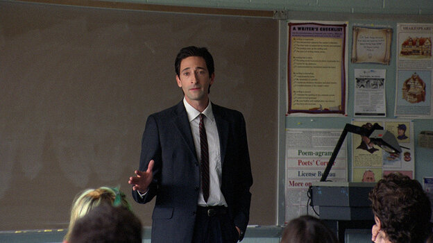 Oh, Captain: Adrien Brody plays selfless substitute teacher Henry Barthes, who is less a convincing human than a synthesis of well-worn cinematic tropes about the inspiring educator.