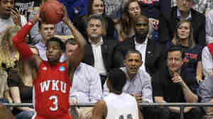 """President Obama and British Prime Minister David Cameron were courtside in Dayton, Ohio, Tuesday at the """"play in"""" game between Western Kentucky and Mississippi Valley State. Western Kentucky won, 59-58."""