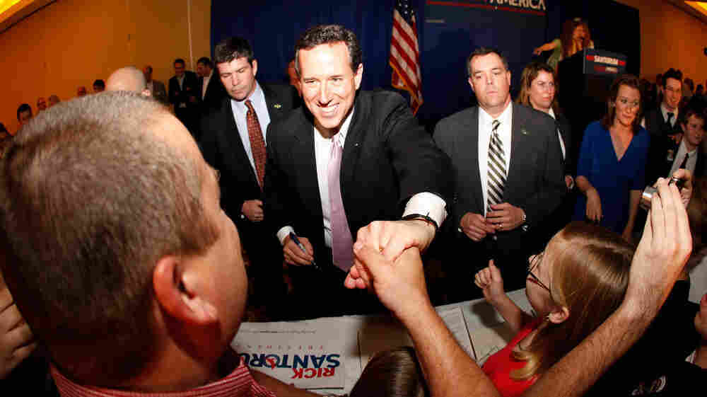 Republican presidential candidate Rick Santorum with supporters Tuesday night in Lafayette, La.  Louisiana's primary is on March 24.