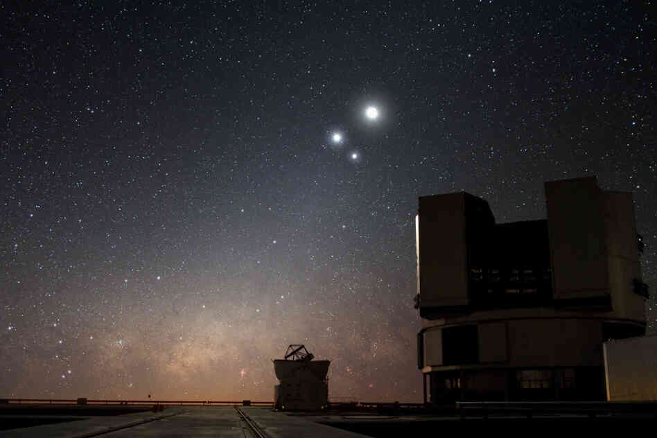 The moon, Venus and Jupiter in a 2009 conjunction above the European Southern Observatory's Very Large Telescope (VLT) at Paranal in Chile.