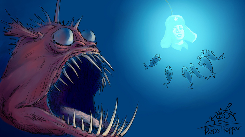 In this illustration by a Chinese cartoonist who goes by the name Rebel Pepper, an anglerfish, representing the Chinese Communist Party, hypnotizes smaller fish, representing the Chinese people, with the glowing image of a famous, model soldier — with the implied intention of devouring them while they're distracted.  (Courtesy Rebel Pepper)
