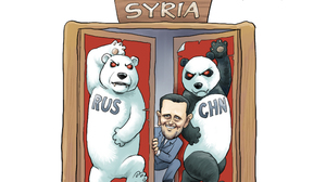 In this cartoon by Rebel Pepper, Russia and China defend Syrian President Bashar Assad amid the country's violent uprising. The image refers to the countries' veto of a draft U.N. resolution promoting regime change in Syria.