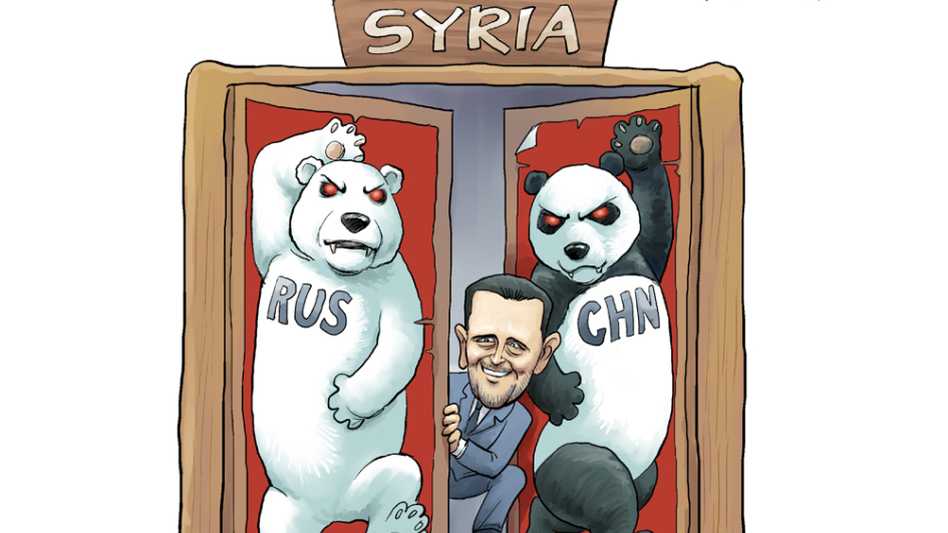 In this cartoon by Rebel Pepper, Russia and China defend Syrian President Bashar Assad amid the country's violent uprising. The image refers to the countries' veto of a draft U.N. resolution promoting regime change in Syria. (Courtesy Rebel Pepper)