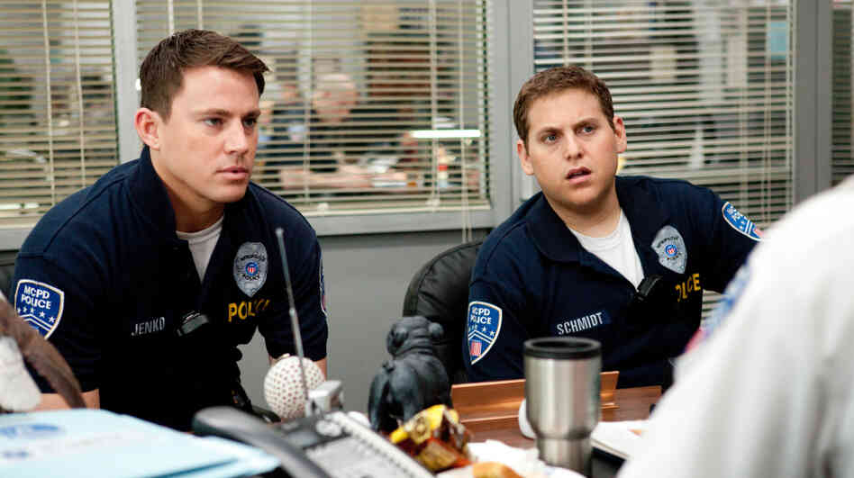 Rookie cops Jenko (Channing Tatum, left) and Schmidt (Jonah Hill) foul up badly enough to land themselves transfers to the youth undercover division at 21 Jump Street.