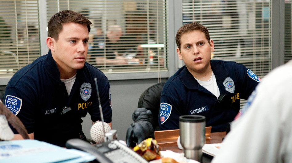 Rookie cops Jenko (Channing Tatum, left) and Schmidt (Jonah Hill) foul up badly enough to land themselves transfers to the youth undercover division at 21 Jump Street. (Sony Pictures)