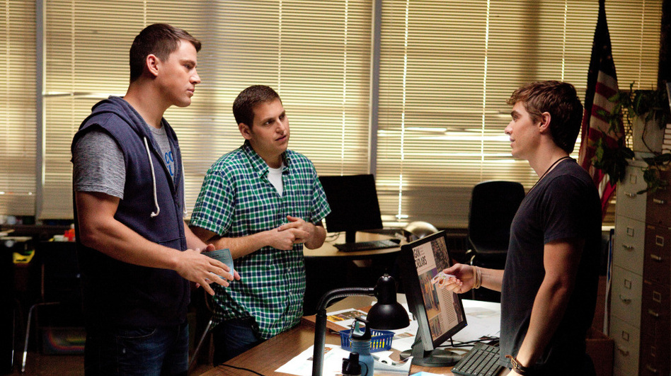 Schmidt and Jenko try to convince popular kid — and suspected drug dealer — Eric (Dave Franco) that they're just regular high school students. (Sony Pictures)