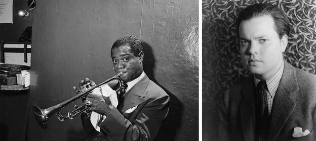 Louis Armstrong, 1946 (William P. Gottlieb) and Orson Welles, 1937 (Carl Van Vechten)