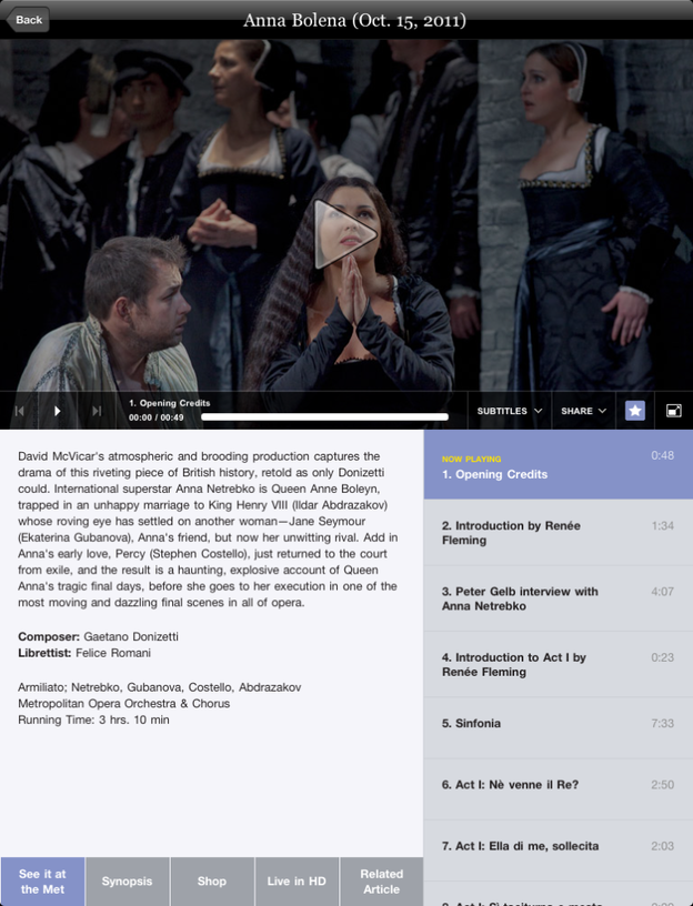 A screenshot of the Met Opera's new iPad app — featuring Anna Netrebko.