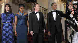 The Obamas and Camerons at the White House before a state dinner for the British prime minister.