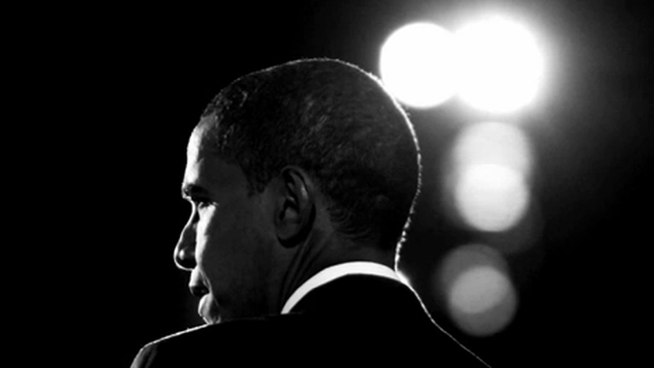 A screen shot of President Obama from the trailer for his campaign movie, <em>The Road We've Traveled</em>.