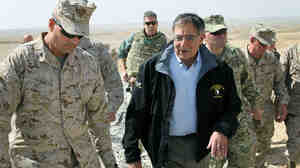 Secretary of Defense Leon Panetta, with Col. John Shafer, at Foward Operating Base Shukvani in Afghanistan on Wednesday.