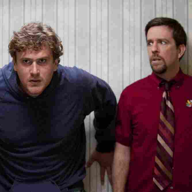 After leaving his mother's basement, Jeff (Jason Segel, left) encounters his brother Pat (Ed Helms), who fears that his wife (Judy Greer) is having an affair.