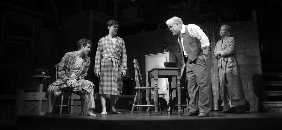 Philip Seymour Hoffman (center) is the latest Willy Loman in a new revival of Arthur Miller's classic, Death of a Salesman, directed by Mike Nichols. Hoffman stars with (from left) Andrew Garfield, Finn Wittrock and Linda Emond in the 63-year-old, Pulitzer Prize-winning play.