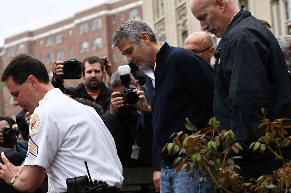 Actor George Clooney is arrested during a demonstration outside the Embassy of Sudan on Friday.