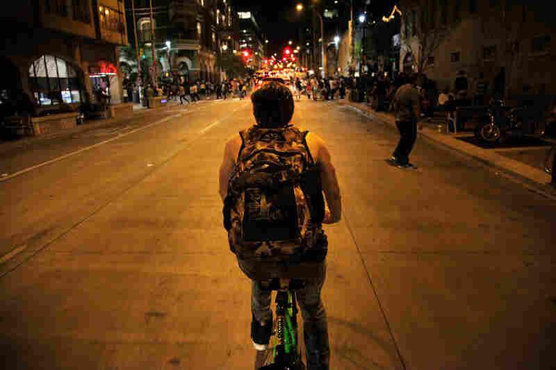 Nighttime bicycling in Austin.